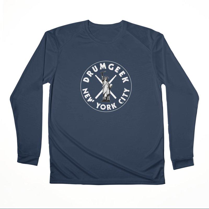 Drum Geek New York (Style 2) - White Logo Men's Performance Longsleeve T-Shirt by Drum Geek Online Shop