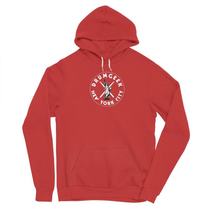 Drum Geek New York (Style 2) - White Logo Men's Sponge Fleece Pullover Hoody by Drum Geek Online Shop