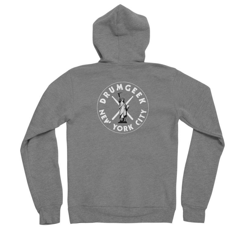 Drum Geek New York (Style 2) - White Logo Men's Sponge Fleece Zip-Up Hoody by Drum Geek Online Shop