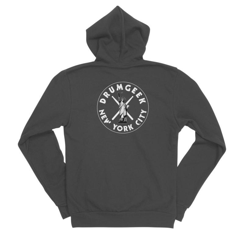 Drum Geek New York (Style 2) - White Logo Women's Sponge Fleece Zip-Up Hoody by Drum Geek Online Shop