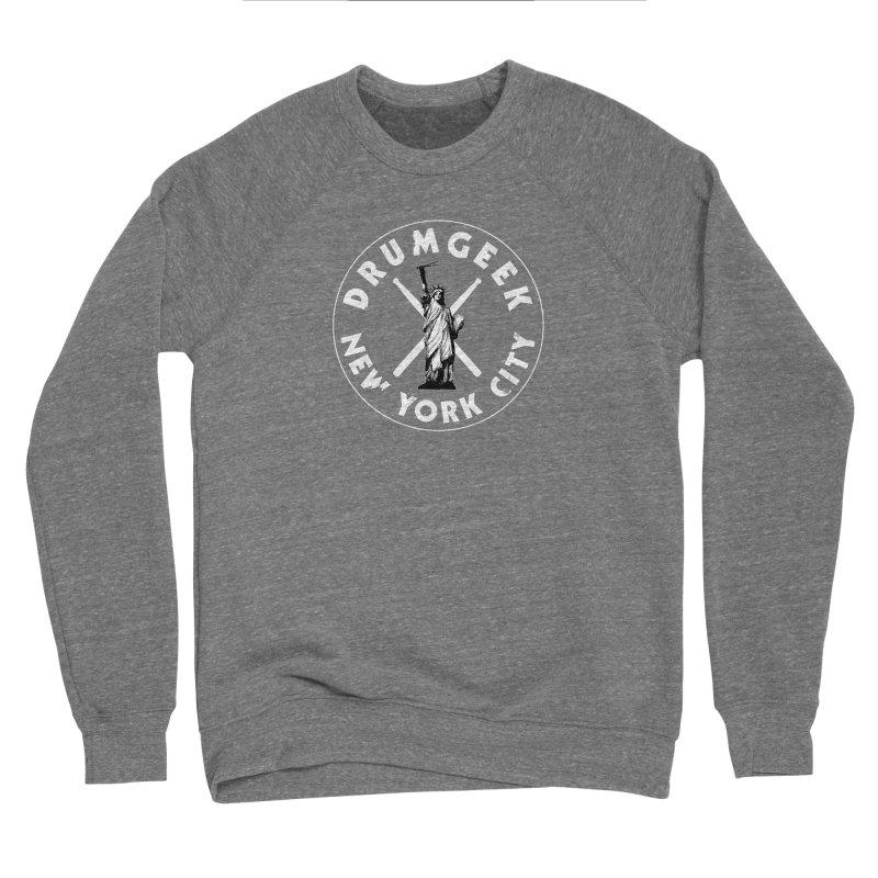 Drum Geek New York (Style 2) - White Logo Men's Sponge Fleece Sweatshirt by Drum Geek Online Shop