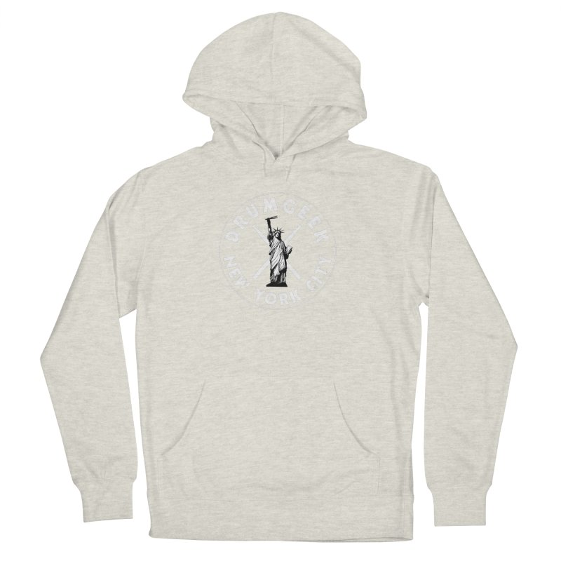 Drum Geek New York (Style 2) - White Logo Men's French Terry Pullover Hoody by Drum Geek Online Shop