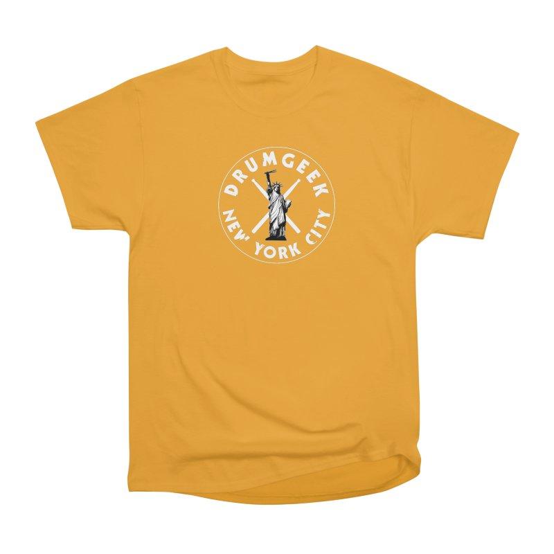 Drum Geek New York (Style 2) - White Logo Women's Heavyweight Unisex T-Shirt by Drum Geek Online Shop