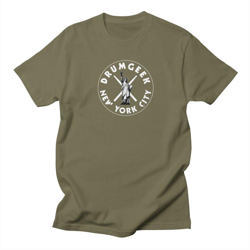 Drum Geek New York (Style 2) - White Logo Women's Regular Unisex T-Shirt by Drum Geek Online Shop