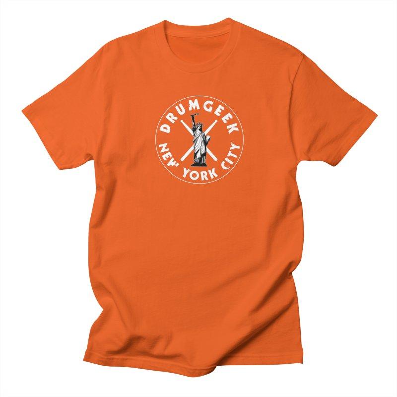 Drum Geek New York (Style 2) - White Logo Men's Regular T-Shirt by Drum Geek Online Shop