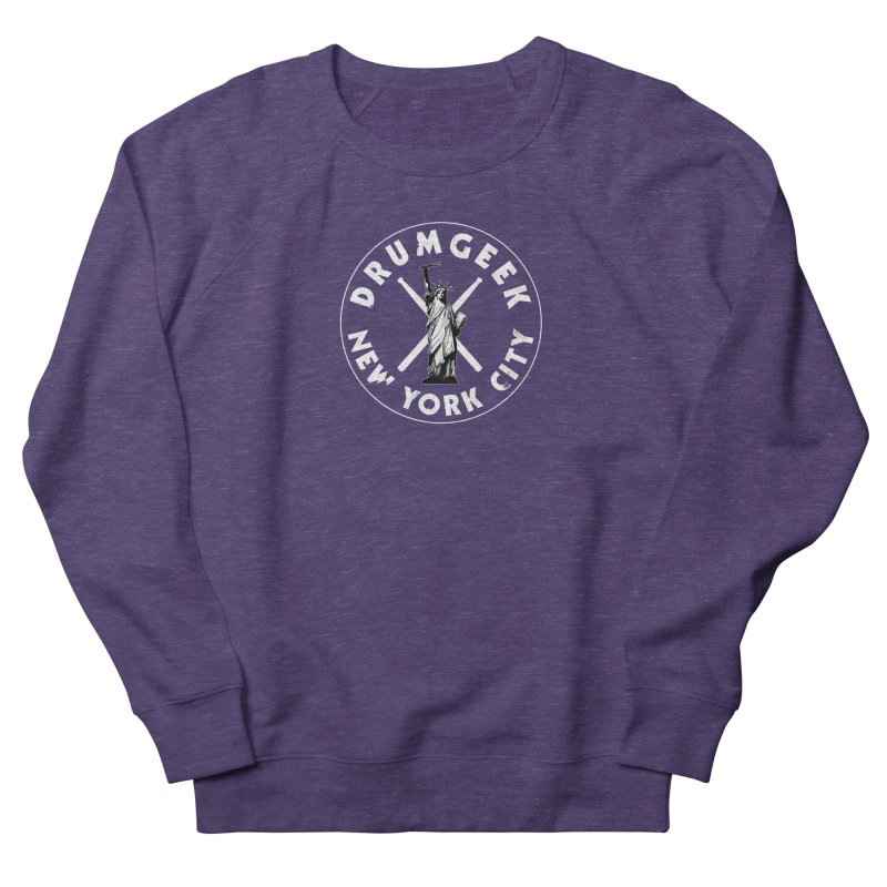 Drum Geek New York (Style 2) - White Logo Women's French Terry Sweatshirt by Drum Geek Online Shop