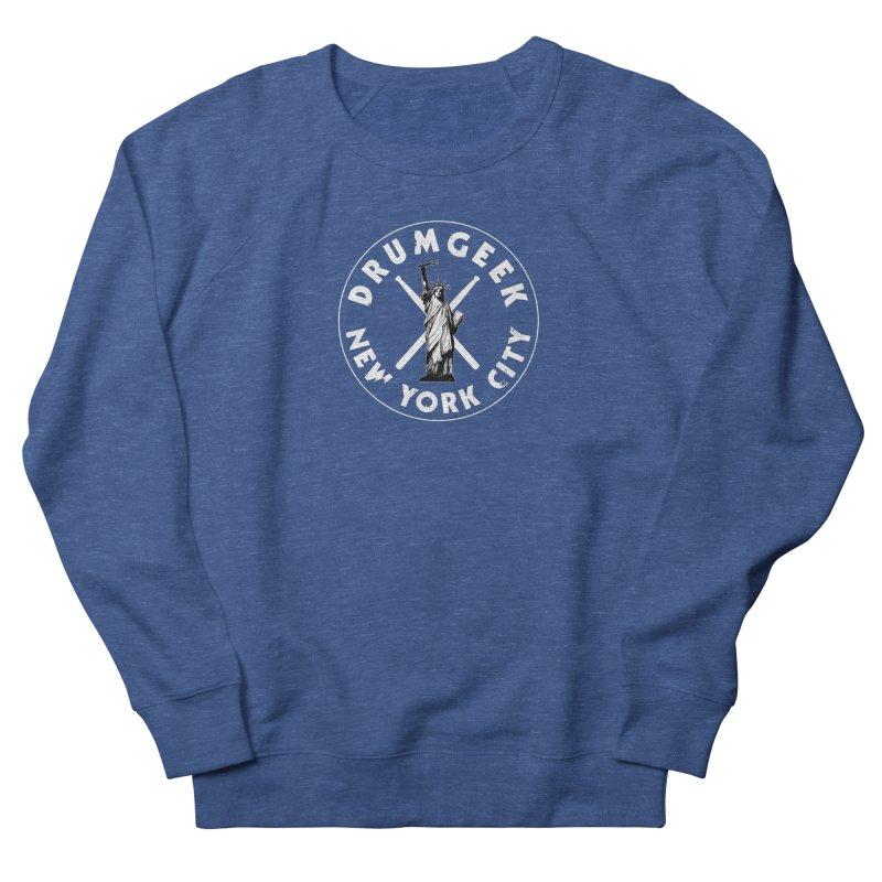 Drum Geek New York (Style 2) - White Logo Men's French Terry Sweatshirt by Drum Geek Online Shop
