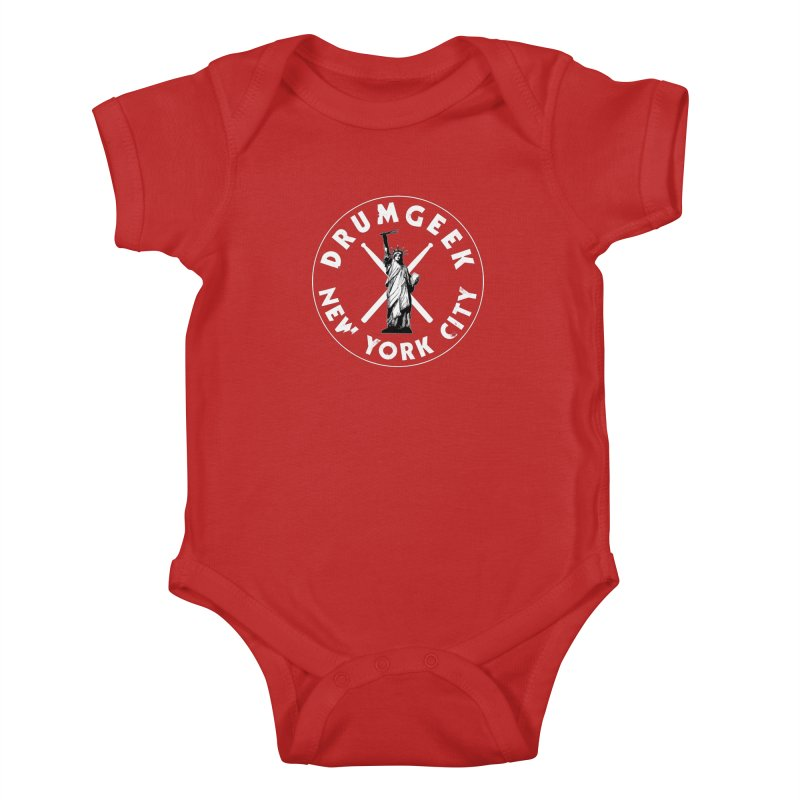 Drum Geek New York (Style 2) - White Logo Kids Baby Bodysuit by Drum Geek Online Shop