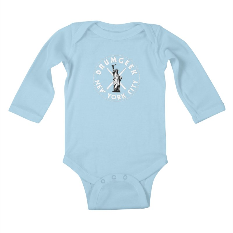 Drum Geek New York (Style 2) - White Logo Kids Baby Longsleeve Bodysuit by Drum Geek Online Shop