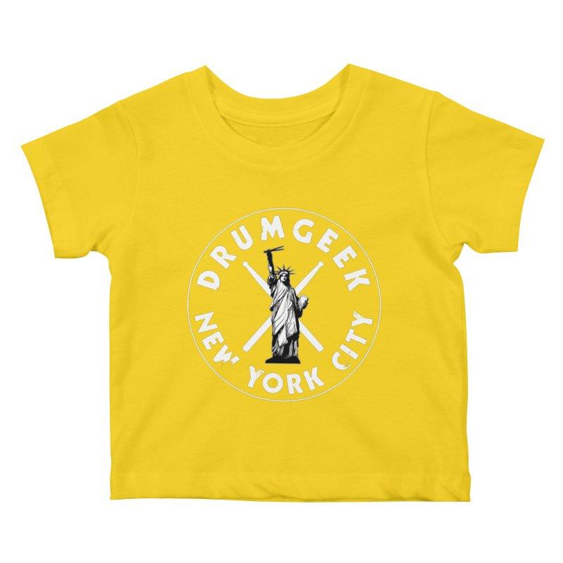 Drum Geek New York (Style 2) - White Logo Kids Baby T-Shirt by Drum Geek Online Shop