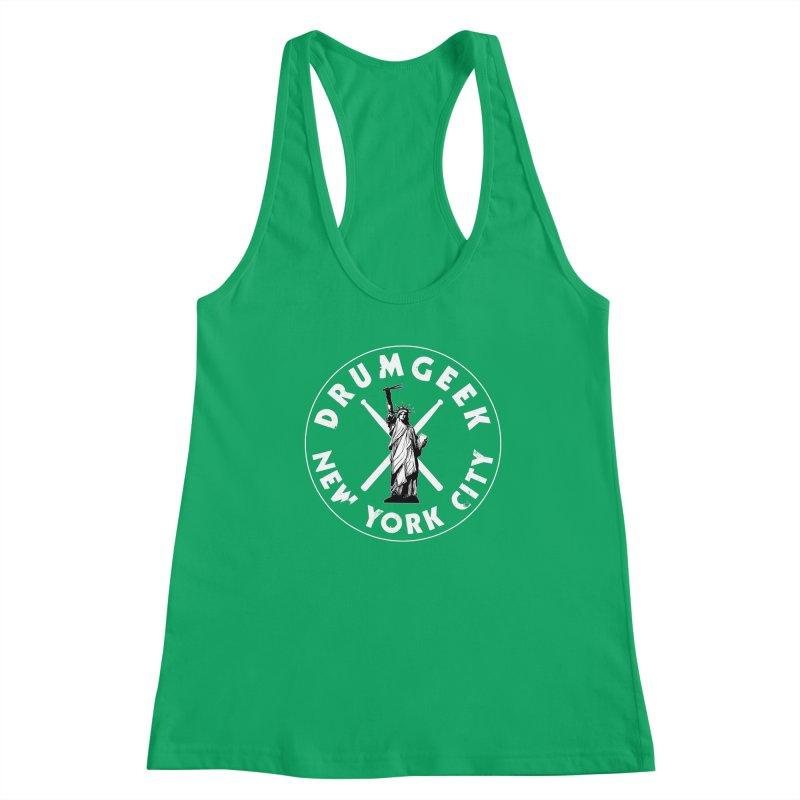 Drum Geek New York (Style 2) - White Logo Women's Racerback Tank by Drum Geek Online Shop