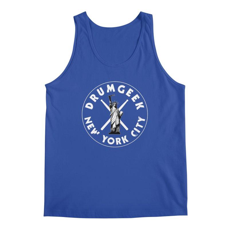 Drum Geek New York (Style 2) - White Logo Men's Regular Tank by Drum Geek Online Shop