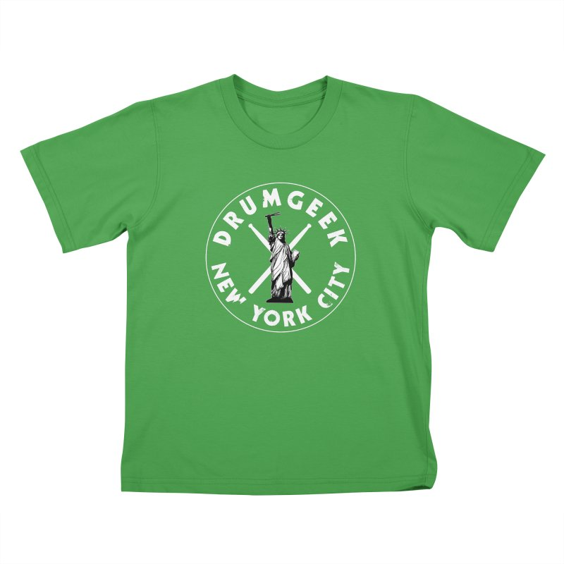 Drum Geek New York (Style 2) - White Logo Kids T-Shirt by Drum Geek Online Shop