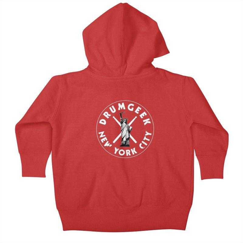 Drum Geek New York (Style 2) - White Logo Kids Baby Zip-Up Hoody by Drum Geek Online Shop