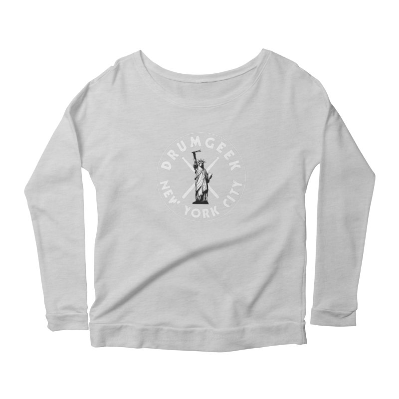 Drum Geek New York (Style 2) - White Logo Women's Scoop Neck Longsleeve T-Shirt by Drum Geek Online Shop