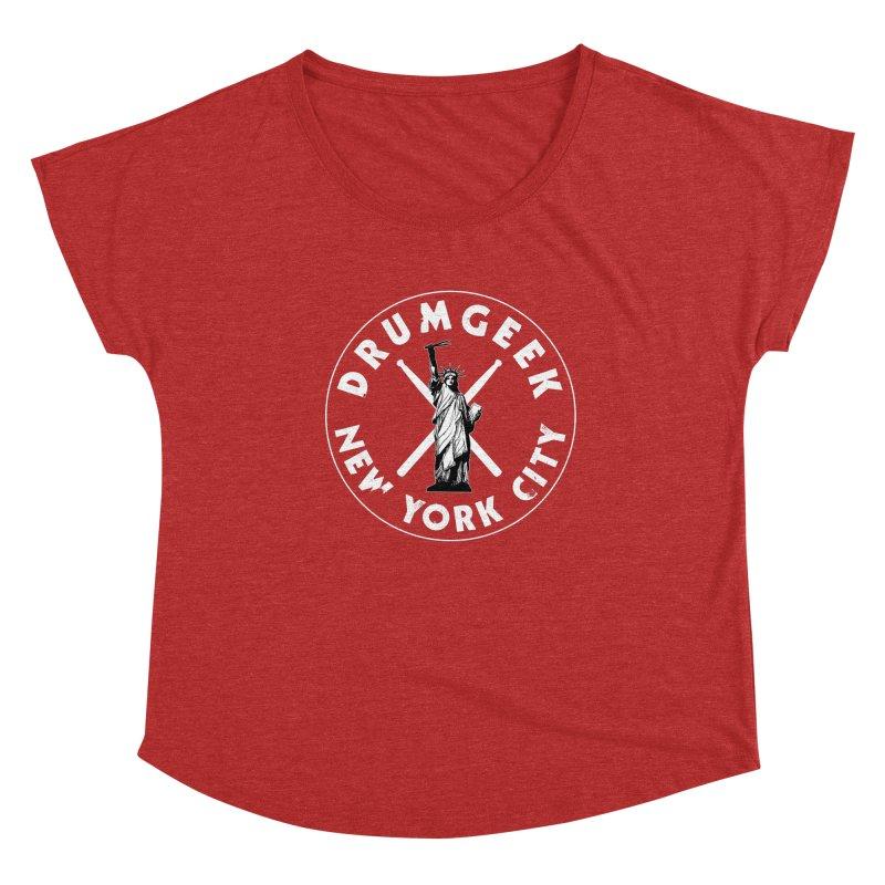 Drum Geek New York (Style 2) - White Logo Women's Dolman Scoop Neck by Drum Geek Online Shop