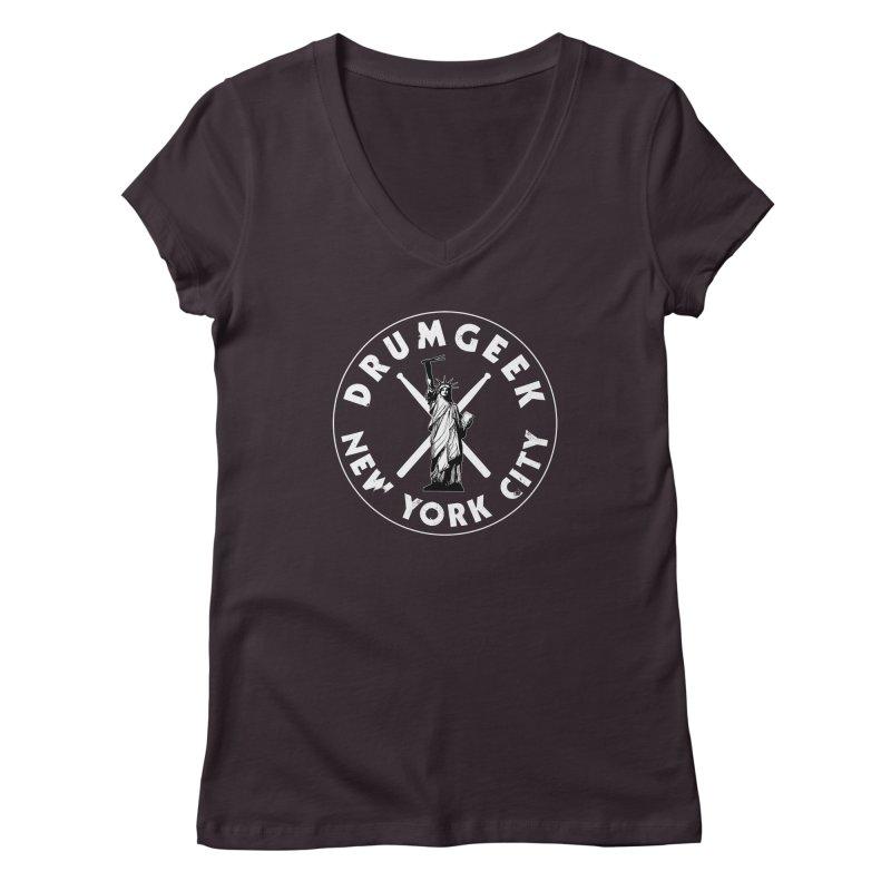 Drum Geek New York (Style 2) - White Logo Women's Regular V-Neck by Drum Geek Online Shop