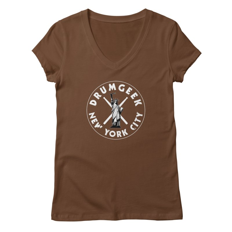 Drum Geek New York (Style 2) - White Logo Women's Regular V-Neck by Drum Geek Online Shop