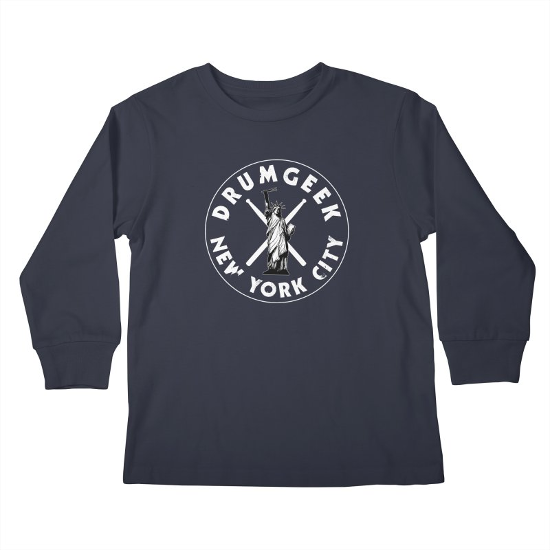 Drum Geek New York (Style 2) - White Logo Kids Longsleeve T-Shirt by Drum Geek Online Shop