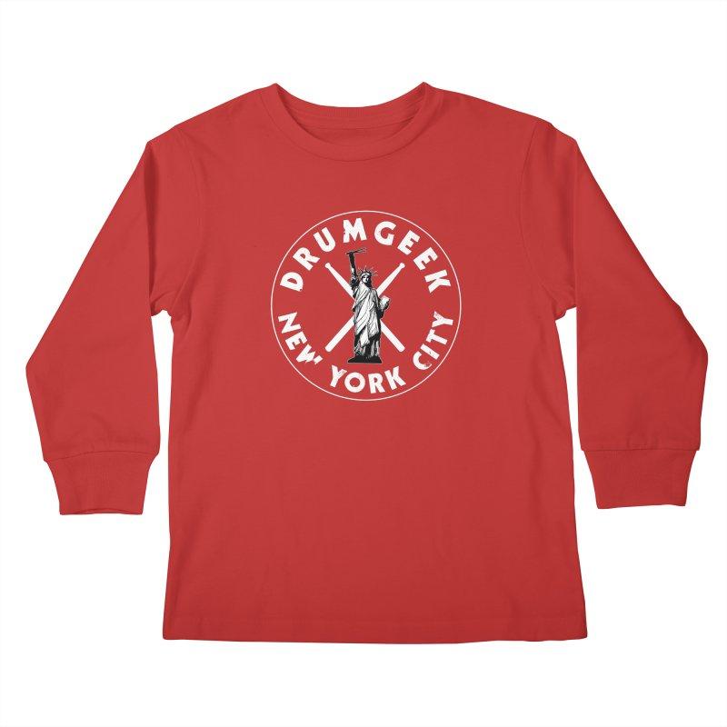 Drum Geek New York (Style 2) - White Logo Kids Longsleeve T-Shirt by Drum Geek Online Shop