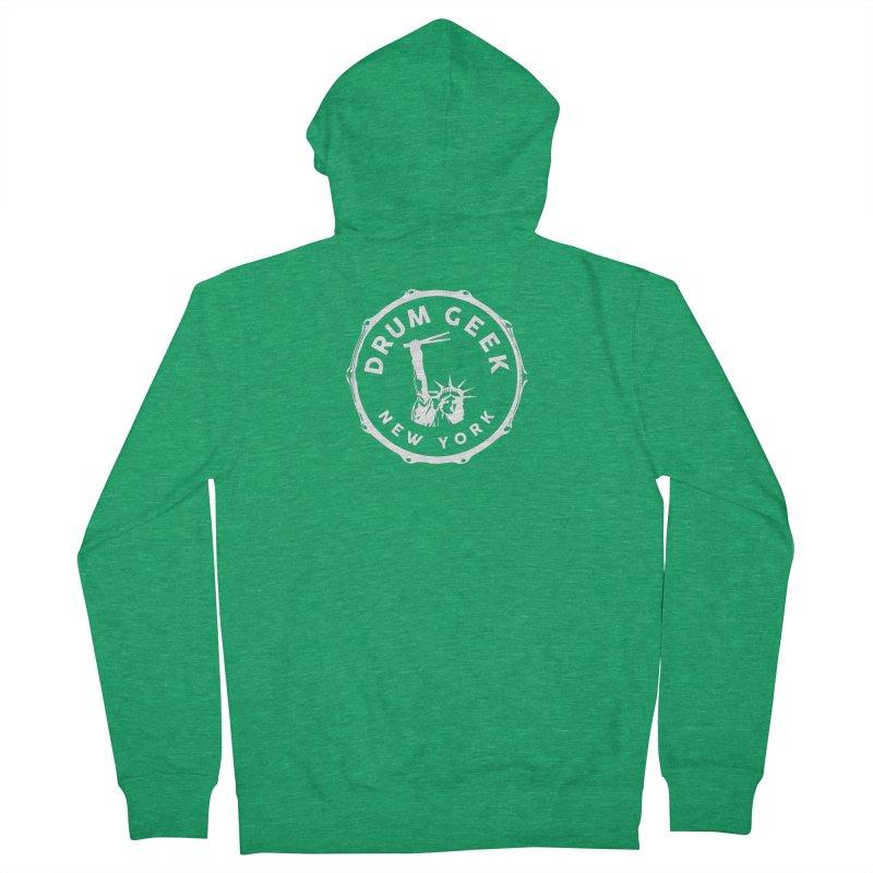 Drum Geek New York - White Logo Men's Zip-Up Hoody by Drum Geek Online Shop