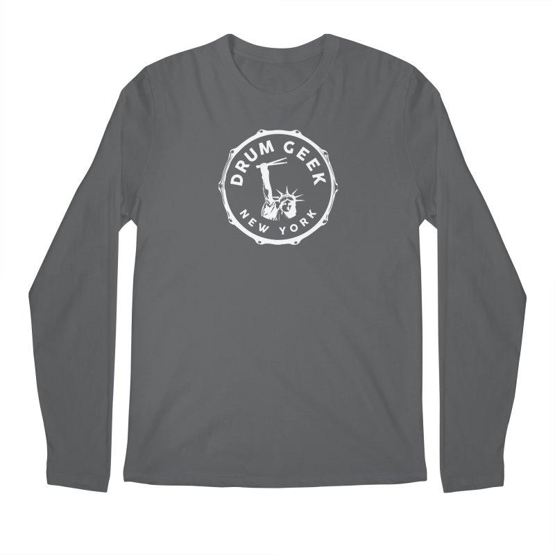 Drum Geek New York - White Logo Men's Longsleeve T-Shirt by Drum Geek Online Shop