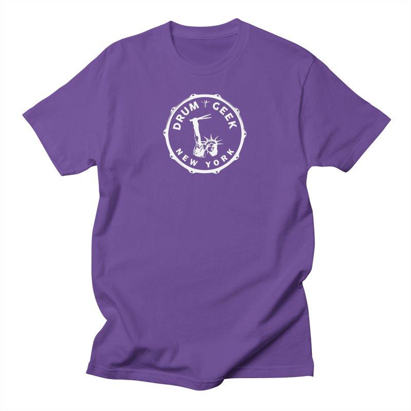 Drum Geek New York - White Logo Men's T-Shirt by Drum Geek Online Shop