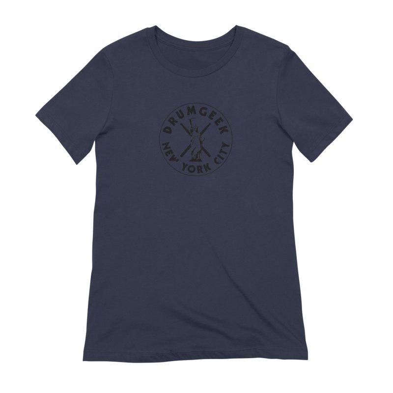 Drum Geek New York (Style 2) - Black Logo Women's Extra Soft T-Shirt by Drum Geek Online Shop