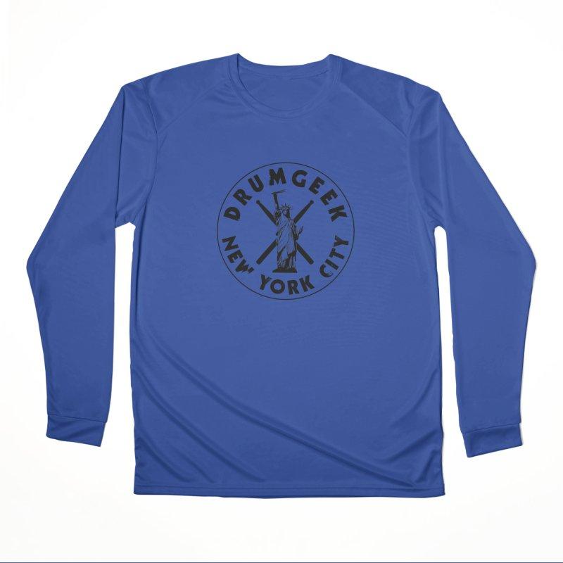 Drum Geek New York (Style 2) - Black Logo Men's Performance Longsleeve T-Shirt by Drum Geek Online Shop