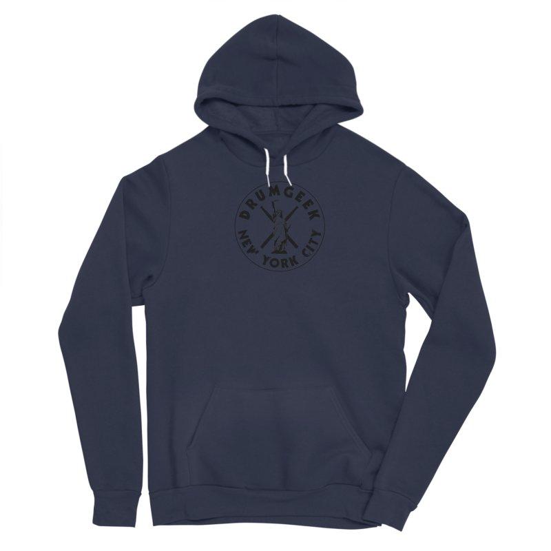 Drum Geek New York (Style 2) - Black Logo Men's Sponge Fleece Pullover Hoody by Drum Geek Online Shop