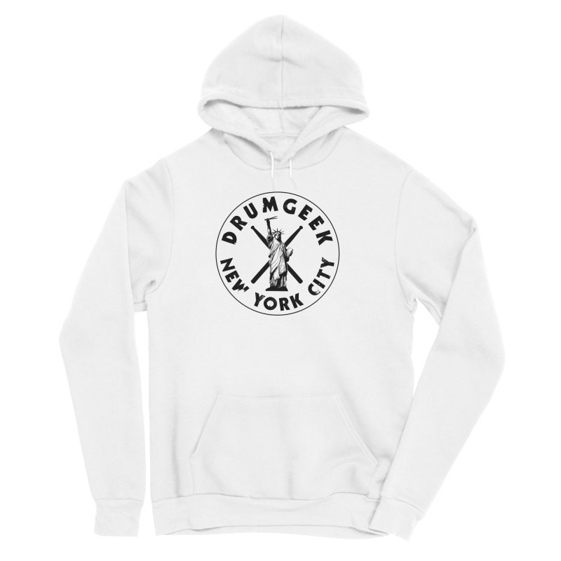 Drum Geek New York (Style 2) - Black Logo Women's Sponge Fleece Pullover Hoody by Drum Geek Online Shop
