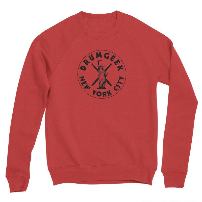 Drum Geek New York (Style 2) - Black Logo Women's Sponge Fleece Sweatshirt by Drum Geek Online Shop