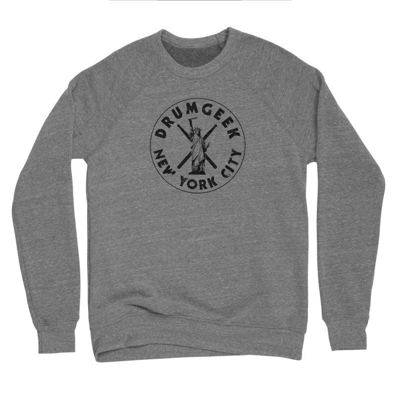 Drum Geek New York (Style 2) - Black Logo Men's Sponge Fleece Sweatshirt by Drum Geek Online Shop