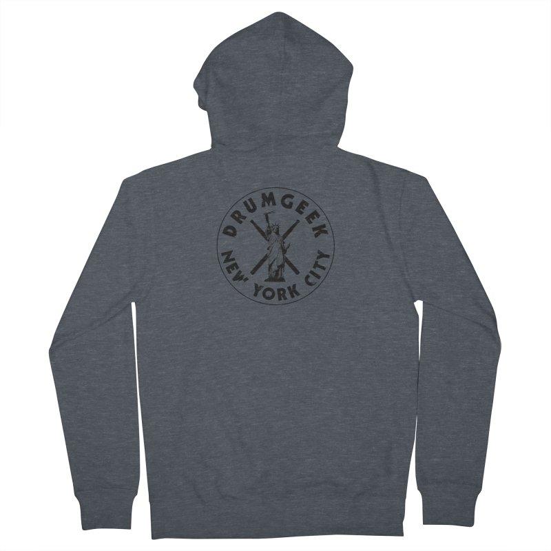 Drum Geek New York (Style 2) - Black Logo Men's French Terry Zip-Up Hoody by Drum Geek Online Shop