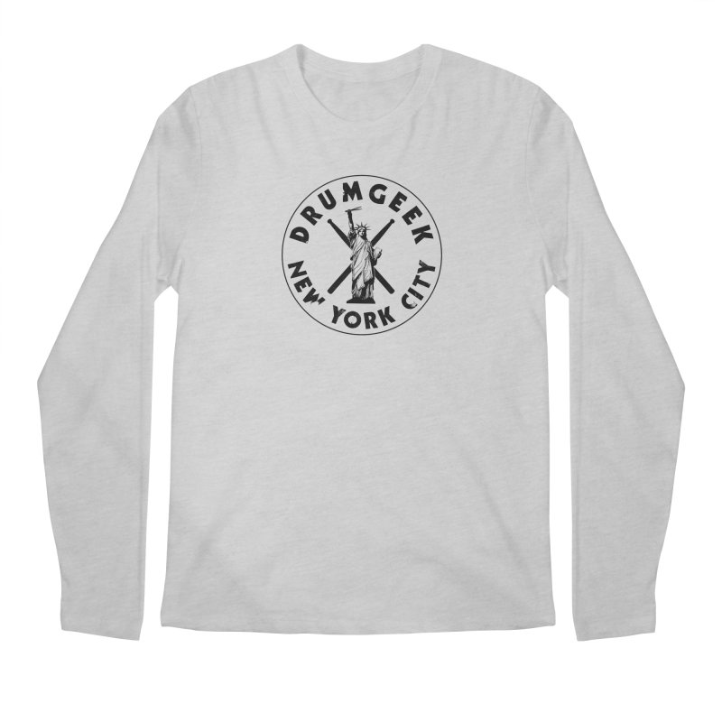 Drum Geek New York (Style 2) - Black Logo Men's Regular Longsleeve T-Shirt by Drum Geek Online Shop