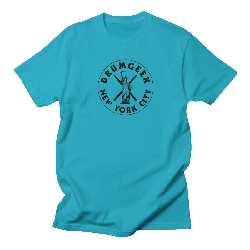 Drum Geek New York (Style 2) - Black Logo Men's Regular T-Shirt by Drum Geek Online Shop