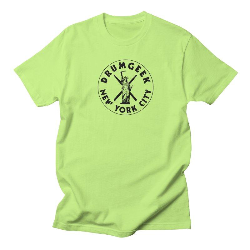 Drum Geek New York (Style 2) - Black Logo Women's Regular Unisex T-Shirt by Drum Geek Online Shop