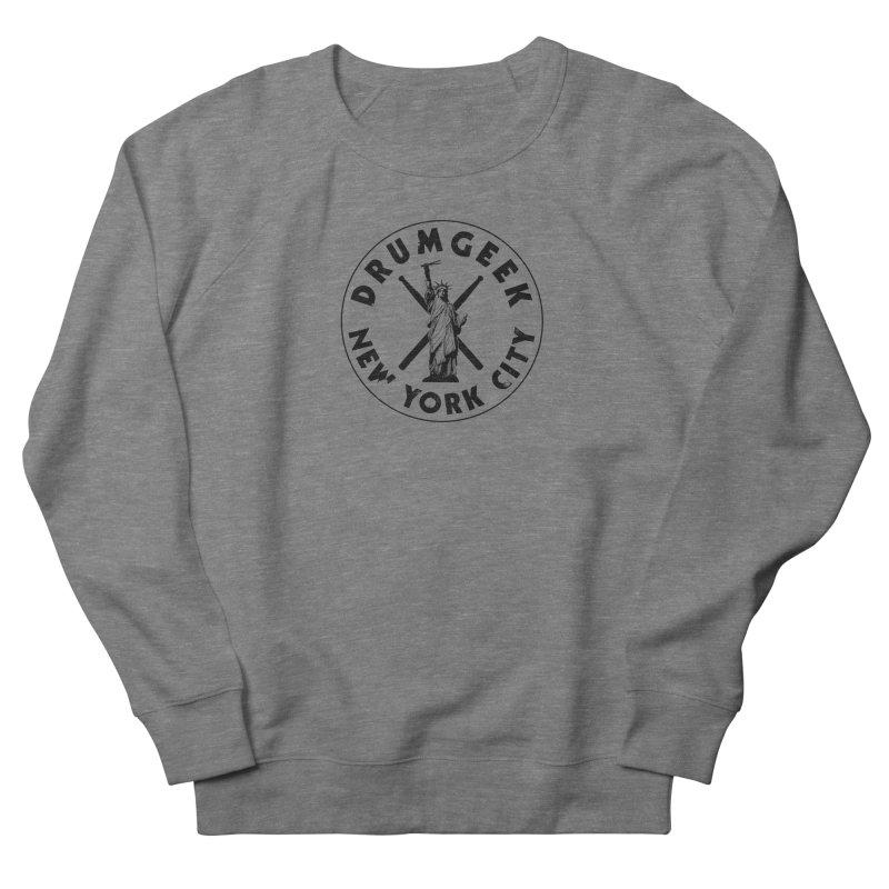 Drum Geek New York (Style 2) - Black Logo Men's French Terry Sweatshirt by Drum Geek Online Shop