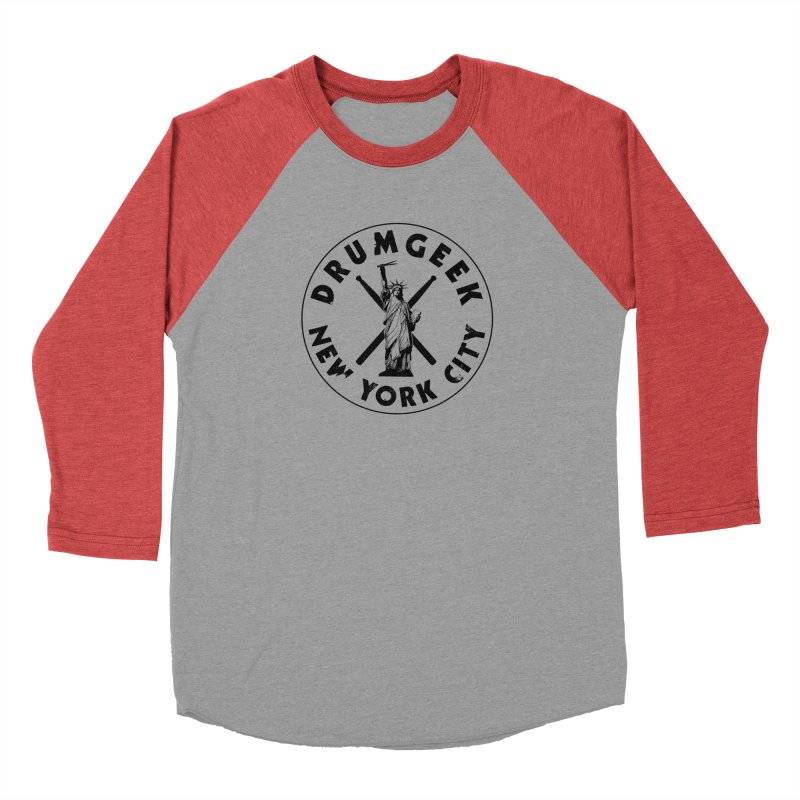 Drum Geek New York (Style 2) - Black Logo Men's Baseball Triblend Longsleeve T-Shirt by Drum Geek Online Shop