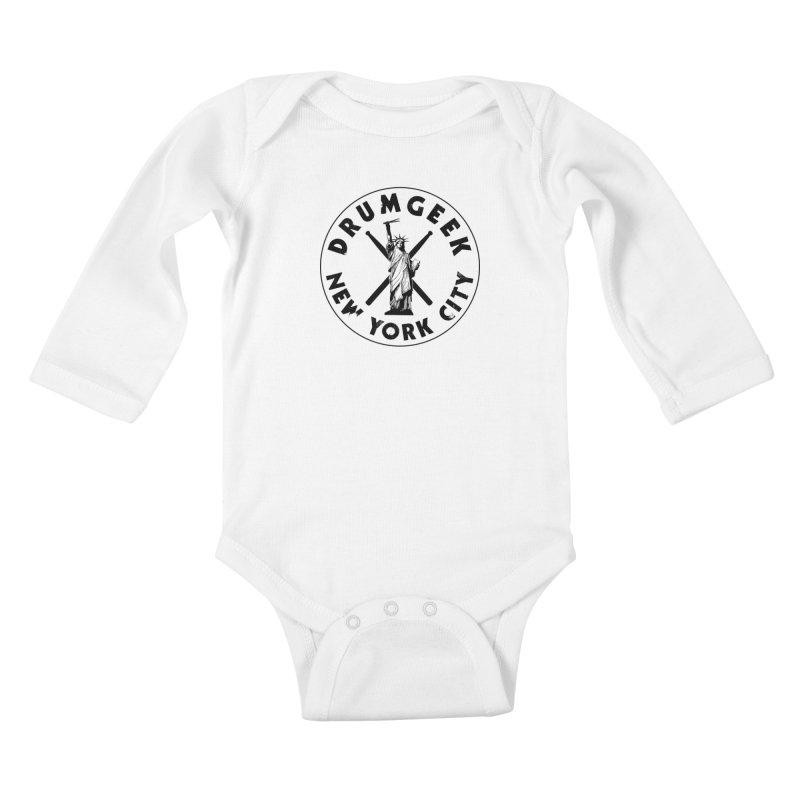 Drum Geek New York (Style 2) - Black Logo Kids Baby Longsleeve Bodysuit by Drum Geek Online Shop