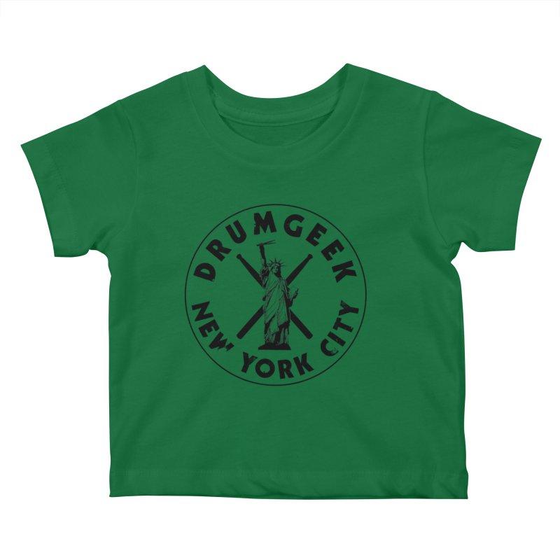 Drum Geek New York (Style 2) - Black Logo Kids Baby T-Shirt by Drum Geek Online Shop