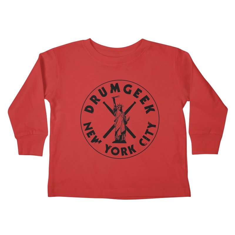Drum Geek New York (Style 2) - Black Logo Kids Toddler Longsleeve T-Shirt by Drum Geek Online Shop