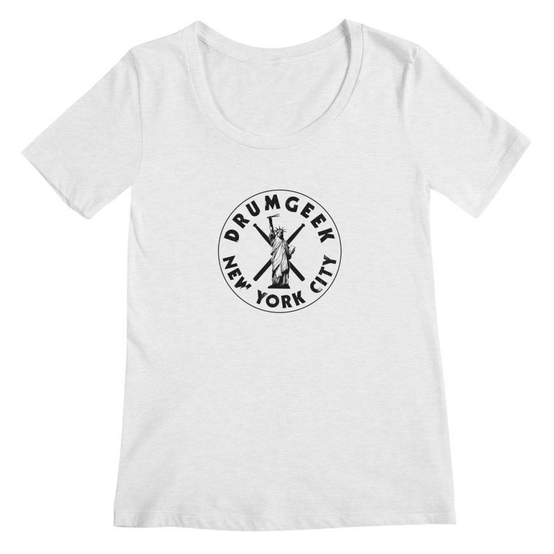 Drum Geek New York (Style 2) - Black Logo Women's Regular Scoop Neck by Drum Geek Online Shop