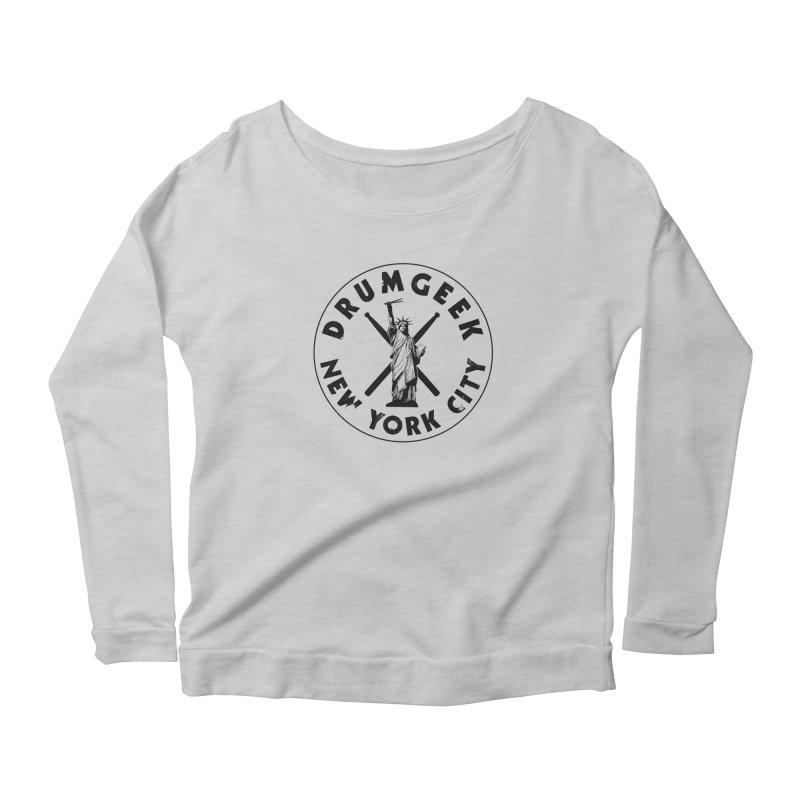 Drum Geek New York (Style 2) - Black Logo Women's Scoop Neck Longsleeve T-Shirt by Drum Geek Online Shop