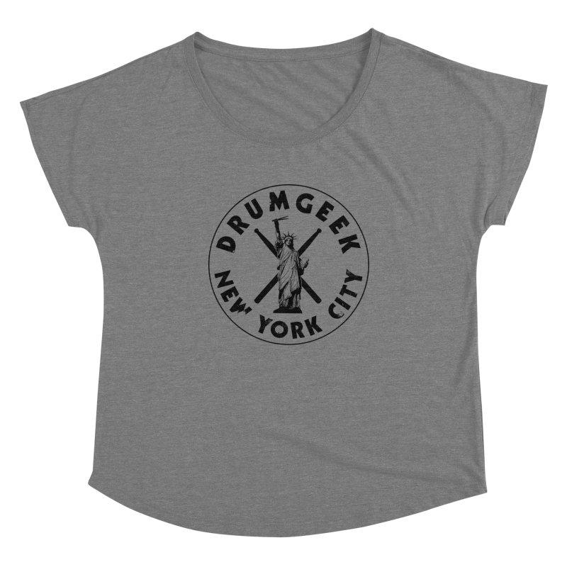 Drum Geek New York (Style 2) - Black Logo Women's Dolman Scoop Neck by Drum Geek Online Shop