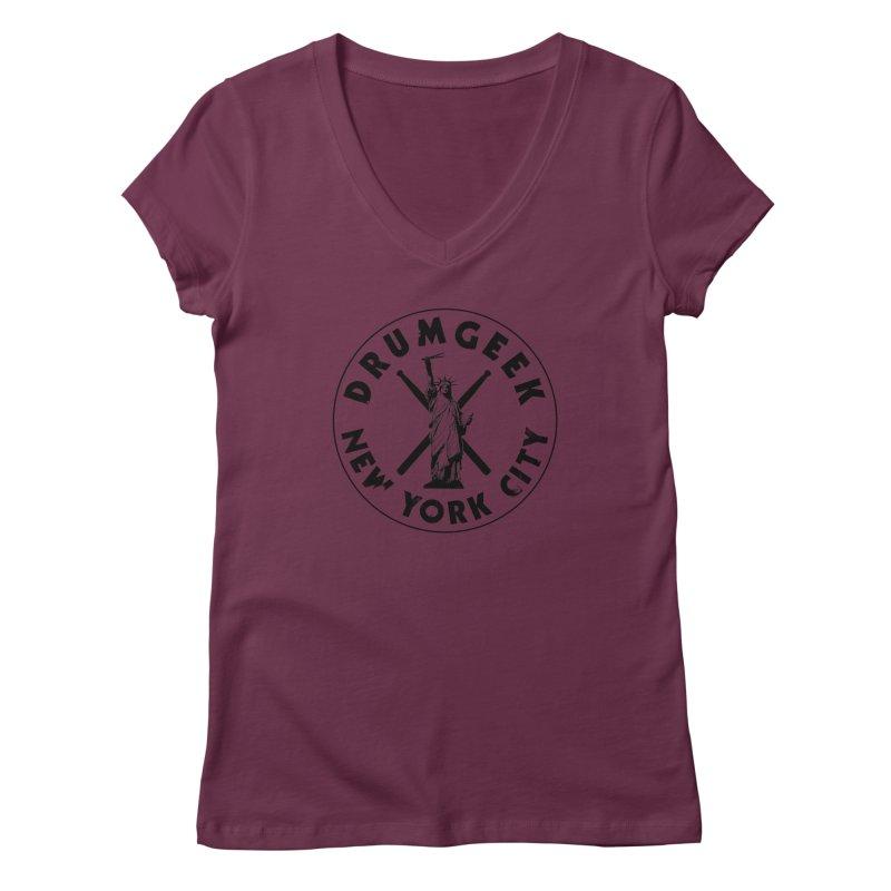Drum Geek New York (Style 2) - Black Logo Women's Regular V-Neck by Drum Geek Online Shop
