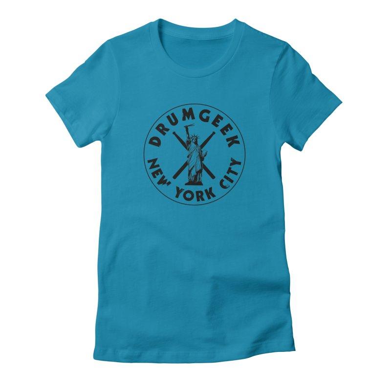 Drum Geek New York (Style 2) - Black Logo Women's Fitted T-Shirt by Drum Geek Online Shop
