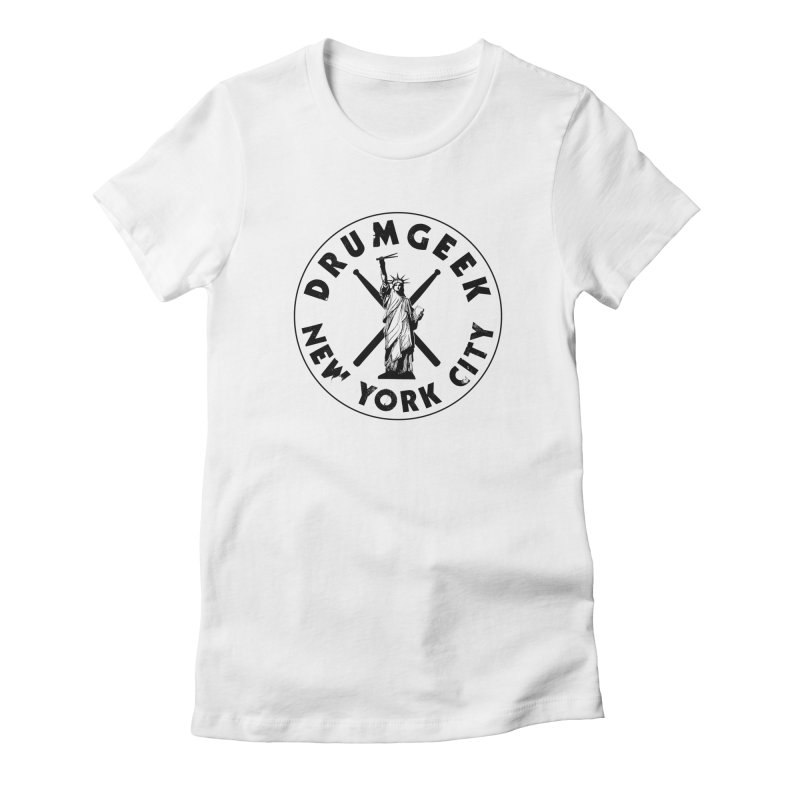 Drum Geek New York (Style 2) - Black Logo Women's Fitted T-Shirt by Drum Geek Online Shop