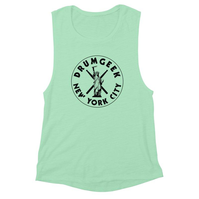 Drum Geek New York (Style 2) - Black Logo Women's Muscle Tank by Drum Geek Online Shop