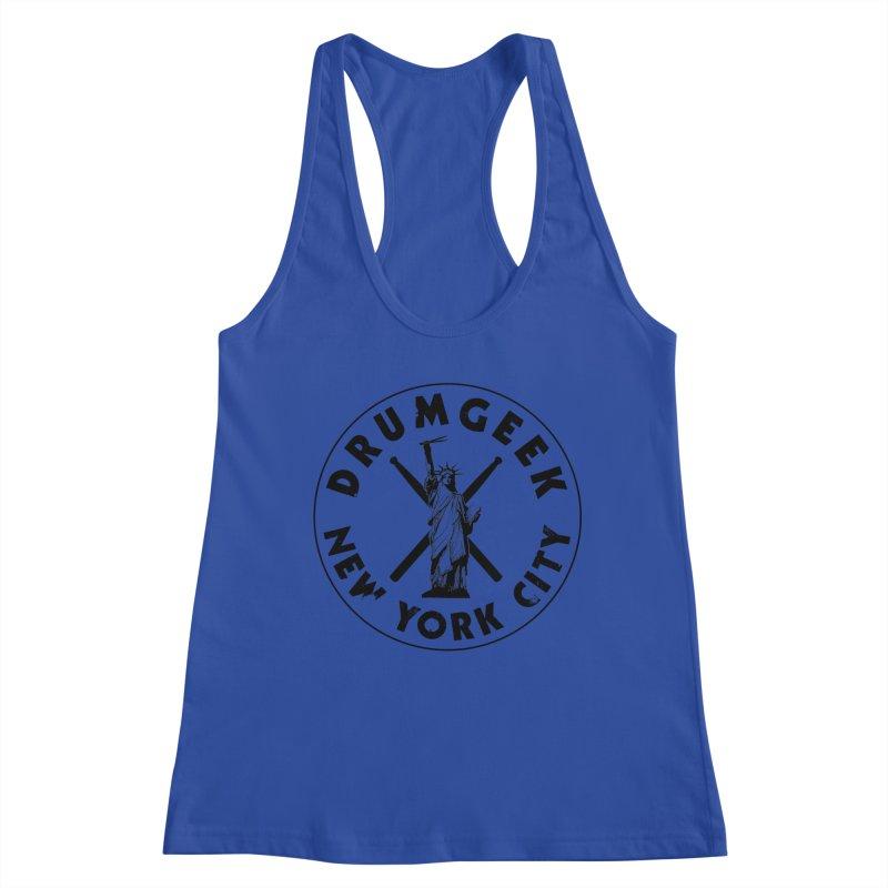 Drum Geek New York (Style 2) - Black Logo Women's Racerback Tank by Drum Geek Online Shop